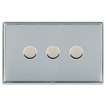 Hamilton Linea-Rondo CFX Bright Chrome/Bright Chrome Push On/Off Dimmer 3 Gang Multi-way Trailing Edge with Bright Chrome Insert
