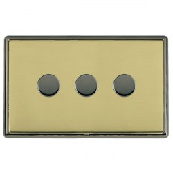 Hamilton Linea-Rondo CFX Black Nickel/Polished Brass Push On/Off Dimmer 3 Gang Multi-way Trailing Edge with Black Nickel Insert