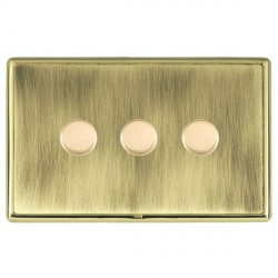 Hamilton Linea-Rondo CFX Polished Brass/Antique Brass Push On/Off Dimmer 3 Gang Multi-way Trailing Edge with Polished Brass Insert