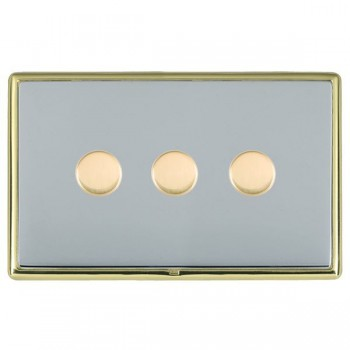 Hamilton Linea-Rondo CFX Polished Brass/Bright Steel Push On/Off Dimmer 3 Gang Multi-way Trailing Edge with Polished Brass Insert