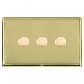 Hamilton Linea-Rondo CFX Polished Brass/Polished Brass Push On/Off Dimmer 3 Gang Multi-way Trailing Edge with Polished Brass Insert