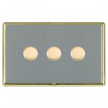 Hamilton Linea-Rondo CFX Polished Brass/Satin Steel Push On/Off Dimmer 3 Gang Multi-way Trailing Edge with Polished Brass Insert