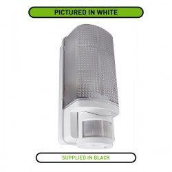 Robus Whitestar 60W Black Bulkhead with PIR Sensor