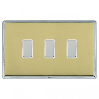 Hamilton Linea-Rondo CFX Bright Chrome/Polished Brass 3 Gang Multi way Touch Master Trailing Edge with White Insert