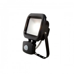 Robus Remy 10W 3000K Black LED Floodlight with PIR Sensor
