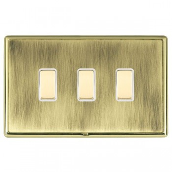 Hamilton Linea-Rondo CFX Polished Brass/Antique Brass 3 Gang Multi way Touch Master Trailing Edge with White Insert