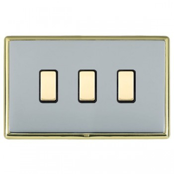 Hamilton Linea-Rondo CFX Polished Brass/Bright Steel 3 Gang Multi way Touch Master Trailing Edge with Black Insert