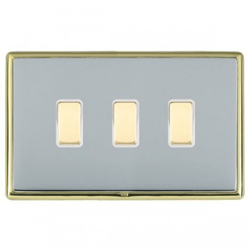 Hamilton Linea-Rondo CFX Polished Brass/Bright Steel 3 Gang Multi way Touch Master Trailing Edge with White Insert