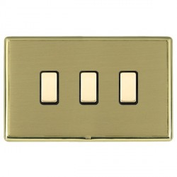 Hamilton Linea-Rondo CFX Polished Brass/Satin Brass 3 Gang Multi way Touch Master Trailing Edge with Blac...