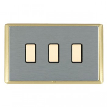Hamilton Linea-Rondo CFX Satin Brass/Satin Steel 3 Gang Multi way Touch Master Trailing Edge with Black Insert