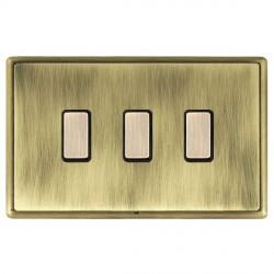 Hamilton Linea-Rondo CFX Antique Brass/Antique Brass 3 Gang Multi way Touch Slave Trailing Edge with Blac...