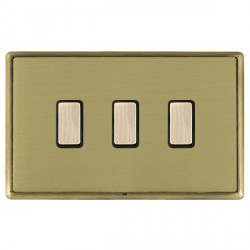 Hamilton Linea-Rondo CFX Antique Brass/Satin Brass 3 Gang Multi way Touch Slave Trailing Edge with Black ...