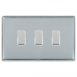 Hamilton Linea-Rondo CFX Bright Chrome/Bright Chrome 3 Gang Multi way Touch Slave Trailing Edge with Whit...