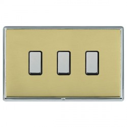 Hamilton Linea-Rondo CFX Bright Chrome/Polished Brass 3 Gang Multi way Touch Slave Trailing Edge with Bla...