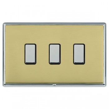 Hamilton Linea-Rondo CFX Bright Chrome/Polished Brass 3 Gang Multi way Touch Slave Trailing Edge with Black Insert