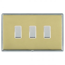 Hamilton Linea-Rondo CFX Bright Chrome/Polished Brass 3 Gang Multi way Touch Slave Trailing Edge with Whi...
