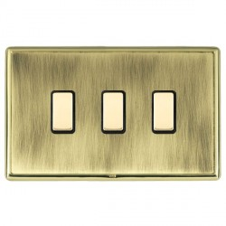 Hamilton Linea-Rondo CFX Polished Brass/Antique Brass 3 Gang Multi way Touch Slave Trailing Edge with Black Insert