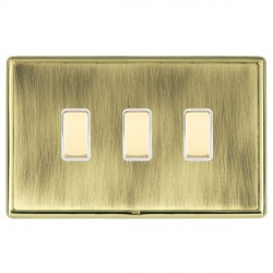Hamilton Linea-Rondo CFX Polished Brass/Antique Brass 3 Gang Multi way Touch Slave Trailing Edge with Whi...