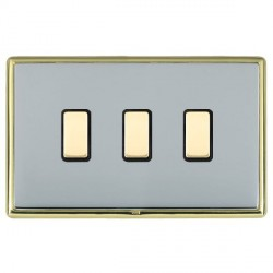 Hamilton Linea-Rondo CFX Polished Brass/Bright Steel 3 Gang Multi way Touch Slave Trailing Edge with Blac...