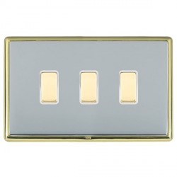 Hamilton Linea-Rondo CFX Polished Brass/Bright Steel 3 Gang Multi way Touch Slave Trailing Edge with Whit...