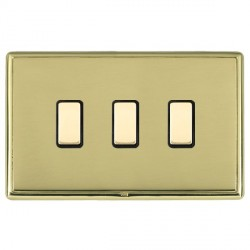 Hamilton Linea-Rondo CFX Polished Brass/Polished Brass 3 Gang Multi way Touch Slave Trailing Edge with Bl...