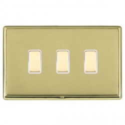 Hamilton Linea-Rondo CFX Polished Brass/Polished Brass 3 Gang Multi way Touch Slave Trailing Edge with Wh...