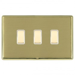 Hamilton Linea-Rondo CFX Polished Brass/Satin Brass 3 Gang Multi way Touch Slave Trailing Edge with White...