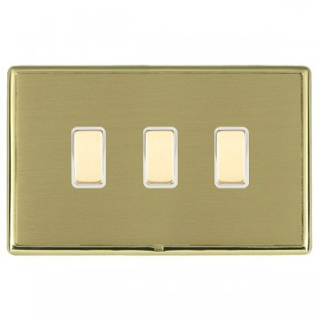 Hamilton Linea-Rondo CFX Polished Brass/Satin Brass 3 Gang Multi way Touch Slave Trailing Edge with White Insert