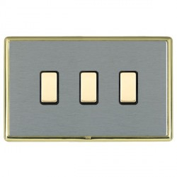 Hamilton Linea-Rondo CFX Polished Brass/Satin Steel 3 Gang Multi way Touch Slave Trailing Edge with Black...