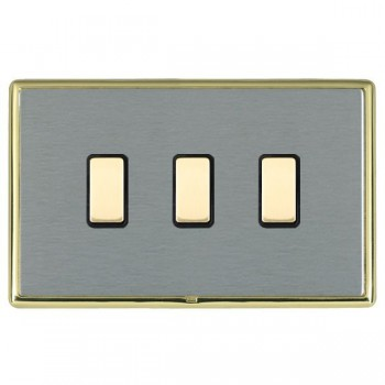 Hamilton Linea-Rondo CFX Polished Brass/Satin Steel 3 Gang Multi way Touch Slave Trailing Edge with Black Insert