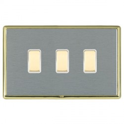 Hamilton Linea-Rondo CFX Polished Brass/Satin Steel 3 Gang Multi way Touch Slave Trailing Edge with White...