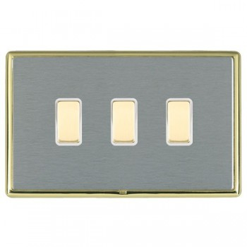 Hamilton Linea-Rondo CFX Polished Brass/Satin Steel 3 Gang Multi way Touch Slave Trailing Edge with White Insert