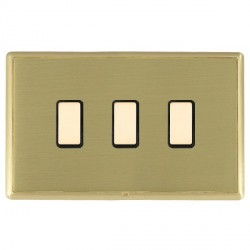 Hamilton Linea-Rondo CFX Satin Brass/Satin Brass 3 Gang Multi way Touch Slave Trailing Edge with Black In...
