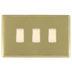 Hamilton Linea-Rondo CFX Satin Brass/Satin Brass 3 Gang Multi way Touch Slave Trailing Edge with White In...