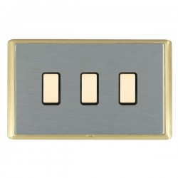 Hamilton Linea-Rondo CFX Satin Brass/Satin Steel 3 Gang Multi way Touch Slave Trailing Edge with Black In...