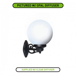 Fumagalli Globe 250 Bisso Black E27 Wall Light with Clear Diffuser