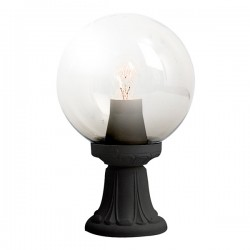 Fumagalli Globe 250 Mikrolot Black E27 Pedestal Light with Clear Diffuser