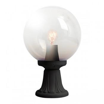 Fumagalli Globe 300 Minilot Black E27 Pedestal Light with Clear Diffuser