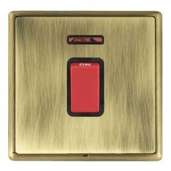 Hamilton Linea-Rondo CFX Antique Brass/Antique Brass 1 Gang 45A Double Pole Red Rocker + neon with Black ...
