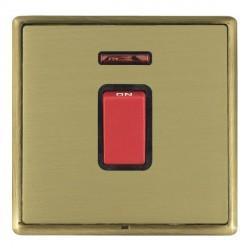 Hamilton Linea-Rondo CFX Antique Brass/Satin Brass 1 Gang 45A Double Pole Red Rocker + neon with Black In...
