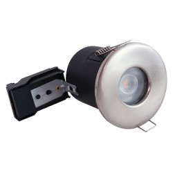 Selectric PushGlo Die-Cast Steel IP65 50W Fixed GU10 Downlight with Satin Chrome Bezel
