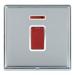 Hamilton Linea-Rondo CFX Bright Chrome/Bright Steel 1 Gang 45A Double Pole Red Rocker + neon with White I...