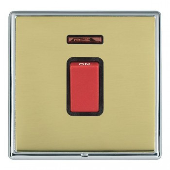 Hamilton Linea-Rondo CFX Bright Chrome/Polished Brass 1 Gang 45A Double Pole Red Rocker + neon with Black Insert