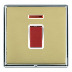 Hamilton Linea-Rondo CFX Bright Chrome/Polished Brass 1 Gang 45A Double Pole Red Rocker + neon with White...
