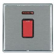 Hamilton Linea-Rondo CFX Bright Chrome/Satin Steel 1 Gang 45A Double Pole Red Rocker + neon with Black In...