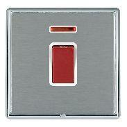 Hamilton Linea-Rondo CFX Bright Chrome/Satin Steel 1 Gang 45A Double Pole Red Rocker + neon with White In...