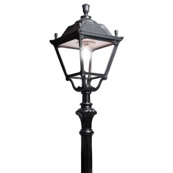 Fumagalli Elia Tabor Black E27 Lamp Post with Clear Diffuser