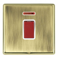 Hamilton Linea-Rondo CFX Polished Brass/Antique Brass 1 Gang 45A Double Pole Red Rocker + neon with White...