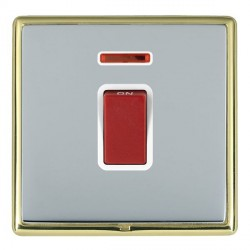 Hamilton Linea-Rondo CFX Polished Brass/Bright Steel 1 Gang 45A Double Pole Red Rocker + neon with White ...