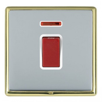 Hamilton Linea-Rondo CFX Polished Brass/Bright Steel 1 Gang 45A Double Pole Red Rocker + neon with White Insert